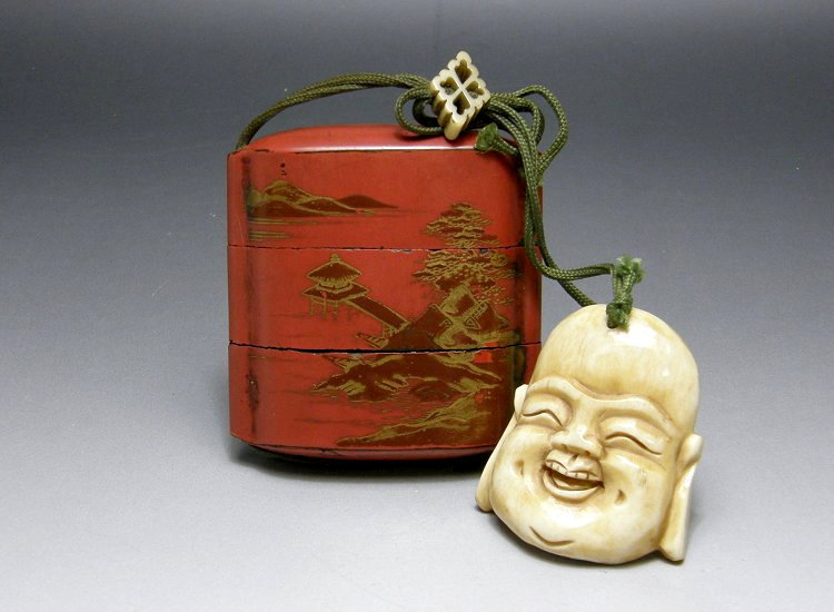 [ Sumiyoshi Shrine Pagodas ] with Ivory Netsuke